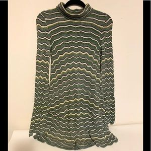 FREE PEOPLE OB525700 ZIGZAG KNIT SWEATER LONG SLEEVE TUNIC MULTICOLORED SIZE S/P